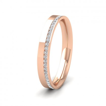 Assymetric Full Channel Set Diamond 9ct Rose Gold 3mm Ring