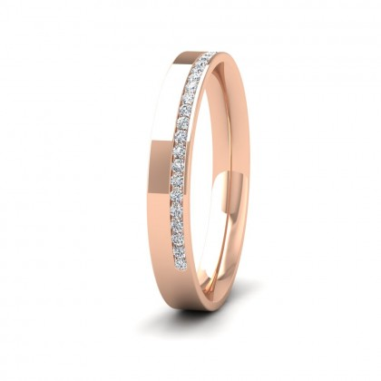 Assymetric Half Channel Set Diamond 18ct Rose Gold 3mm Ring
