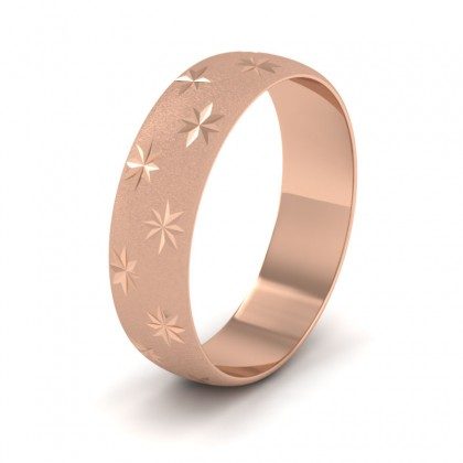Star Patterned 9ct Rose Gold 6mm Wedding Ring