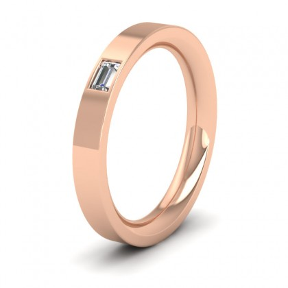 Baguette Diamond Set (0.1ct) 9ct Rose Gold 3mm Wedding Ring