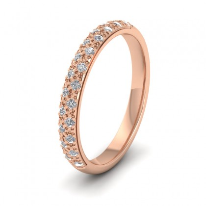 Pave Set Diamond (0.176ct) 18ct Rose Gold 2.5mm Wedding Ring