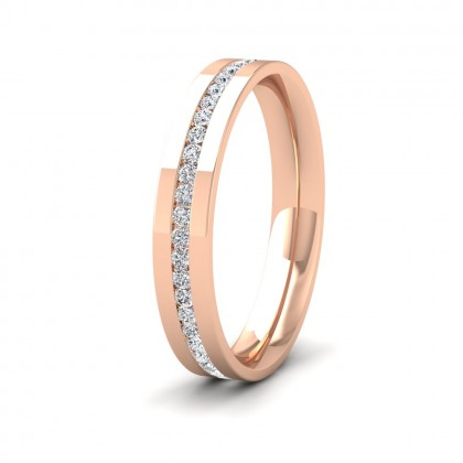Full Channel Set Round Diamond (0.5ct) 9ct Rose Gold Flat 3.5mm Ring