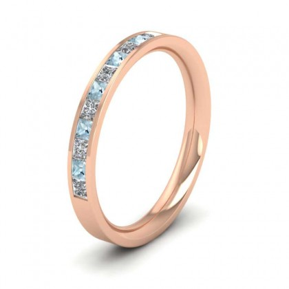Channel Set Diamond And Aquamarine 18ct Rose Gold 2.5mm Wedding Ring