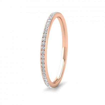 Full Channel Set 0.26ct Round Brilliant Cut Diamond 9ct Rose Gold 1.5mm Ring