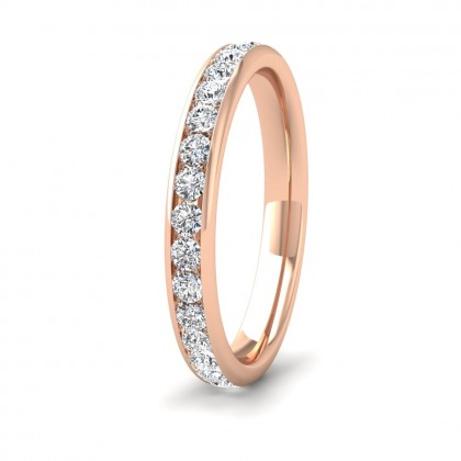 Full Channel Set 0.7ct Round Brilliant Cut Diamond 9ct Rose Gold 2.75mm Ring