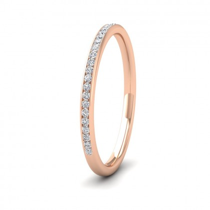 Half Channel Set 0.13ct Round Brilliant Cut Diamond 9ct Rose Gold 1.5mm Ring