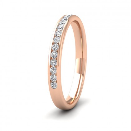 Half Channel Set 0.24ct Round Brilliant Cut Diamond 9ct Rose Gold 2.5mm Ring