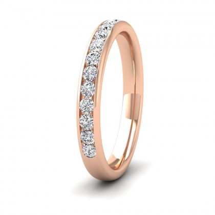Half Channel Set 0.34ct Round Brilliant Cut Diamond 9ct Rose Gold 2.75mm Ring