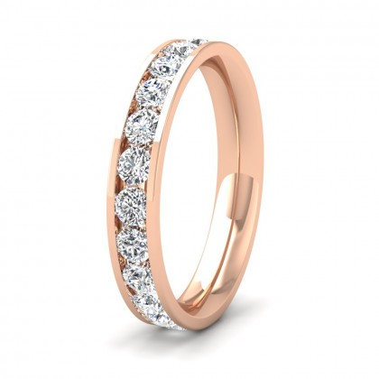Full Channel Set 1.4ct Round Brilliant Cut Diamond 9ct Rose Gold 3.5mm Ring