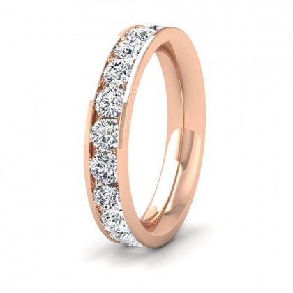 Full Channel Set 2ct Round Brilliant Cut Diamond 18ct Rose Gold 4mm Ring