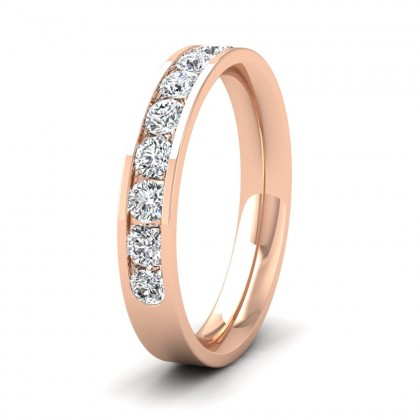 Half Channel Set 0.7ct Round Brilliant Cut Diamond 9ct Rose Gold 3.5mm Ring