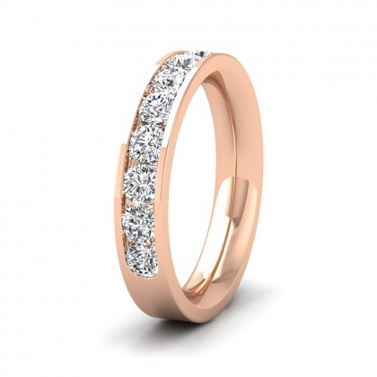 Half Channel Set 1ct Round Brilliant Cut Diamond 18ct Rose Gold 4mm Ring