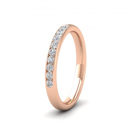 Ten Stone 0.2ct Channel Set Diamond 18ct Rose Gold 2.5mm Ring
