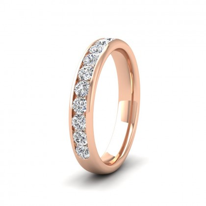 Ten Stone 0.5ct Channel Set Diamond 9ct Rose Gold 3.5mm Ring