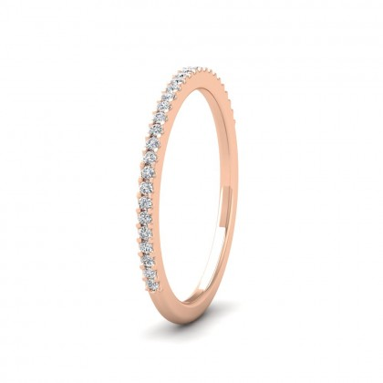 Round Claw 0.13ct Half Diamond Set 18ct Rose Gold 1.5mm Ring