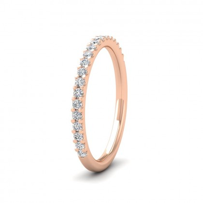 Round Claw 0.25ct Half Diamond Set 18ct Rose Gold 2mm Ring