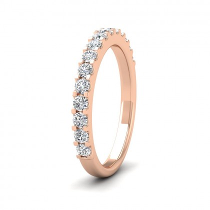 Round Claw 0.5ct Half Diamond Set 9ct Rose Gold 2.5mm Ring