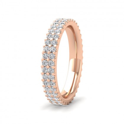 Two Row Round Claw 1.00ct Full Diamond Set 9ct Rose Gold 3.5mm Ring