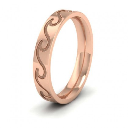 Wave Pattern 9ct Rose Gold 4mm Wedding Ring