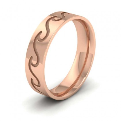 Wave Pattern 9ct Rose Gold 6mm Wedding Ring