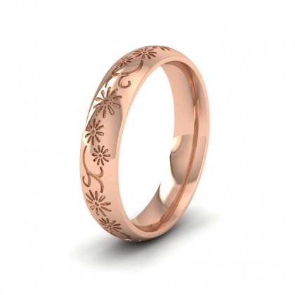 Daisy Pattern 9ct Rose Gold 4mm Wedding Ring