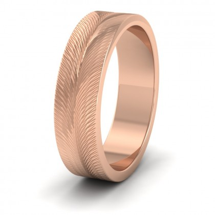 Feather Pattern 9ct Rose Gold 6mm Wedding Ring