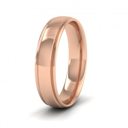 Edge Line Patterned 9ct Rose Gold 5mm Wedding Ring
