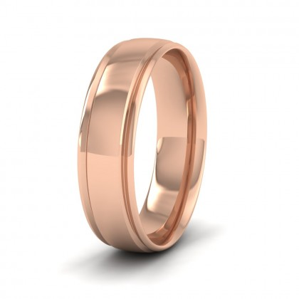 Edge Line Patterned 9ct Rose Gold 6mm Wedding Ring