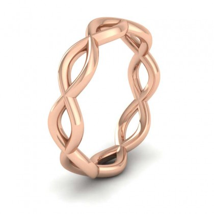 Double Twist 9ct Rose Gold 4mm Wedding Ring