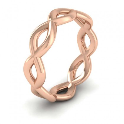 Double Twist 9ct Rose Gold 6mm Wedding Ring