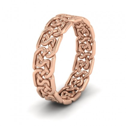 Open Celtic Patterned 9ct Rose Gold 6mm Wedding Ring