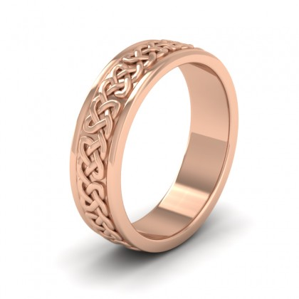 Celtic Pattern With Edge Flat 9ct Rose Gold 6mm Wedding Ring