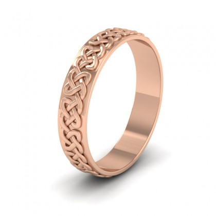 Celtic Patterned Flat 18ct Rose Gold 4mm Wedding Ring
