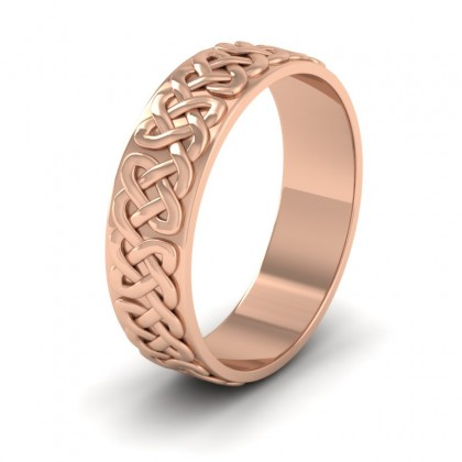 Celtic Patterned Flat 9ct Rose Gold 6mm Wedding Ring