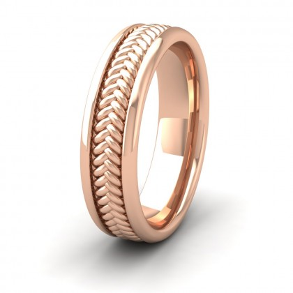 Braided Pattern 9ct Rose Gold 6mm Wedding Ring