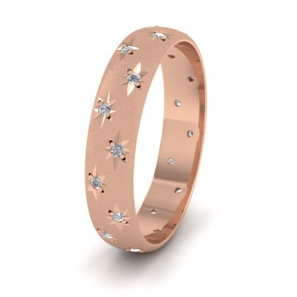 Star And Diamond Set 18ct Rose Gold 4mm Wedding Ring