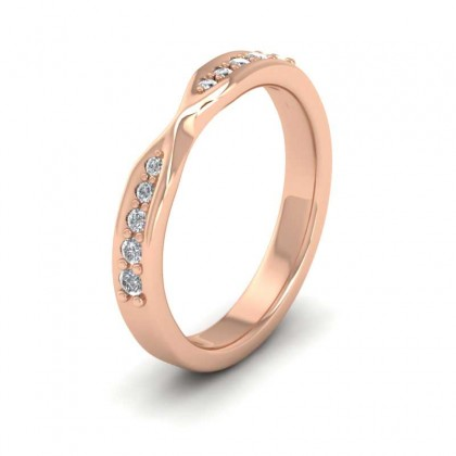 Pinch Design Wedding Ring With Diamonds 9ct Rose Gold 3mm Wedding Ring
