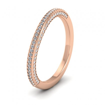 Diamond Pave Set Matching 9ct Rose Gold 2mm Wedding Ring