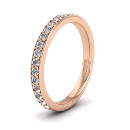 Half Diamond Pave Set 9ct Rose Gold 2.5mm Wedding Ring