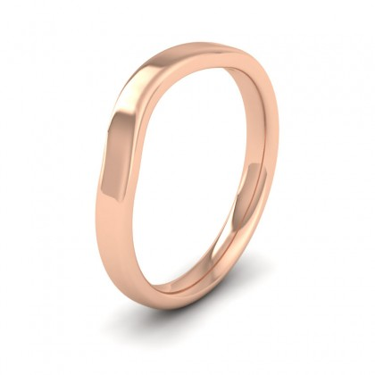 Shaped 9ct Rose Gold 2.5mm Wedding Ring