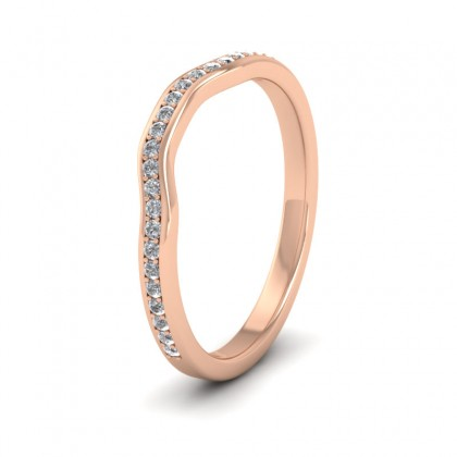 Shaped Diamond Set Pave 9ct Rose Gold 2mm Wedding Ring