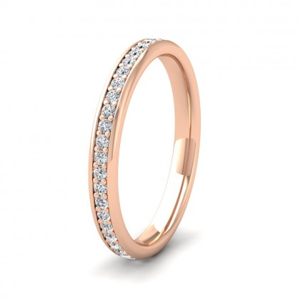 Full Bead Set 0.46ct Round Brilliant Cut Diamond 9ct Rose Gold 2.5mm Ring