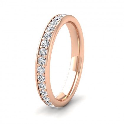 Full Bead Set 0.7ct Round Brilliant Cut Diamond 9ct Rose Gold 3mm Ring