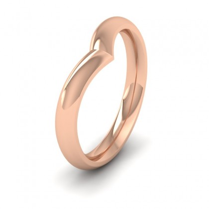 Wishbone Shaped 9ct Rose Gold 3mm Wedding Ring