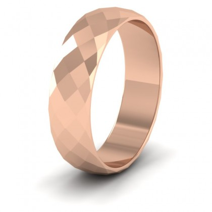 Facetted Harlequin Design 9ct Rose Gold 6mm Wedding Ring