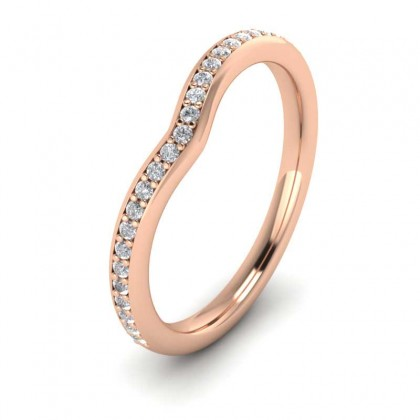 Wishbone Shape Diamond Set Pave 9ct Rose Gold 2mm Wedding Ring