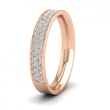 Two Row 0.44ct Half Diamond Set Pave 9ct Rose Gold 3.5mm Ring
