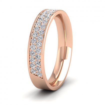 Two Row 0.5ct Half Diamond Set Pave 9ct Rose Gold 4mm Ring