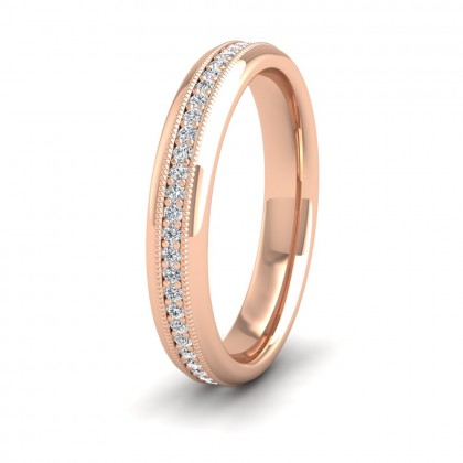 Fully Set Ring With Round Brilliant Cut Diamonds With Set In Millgrain Surround (0.26ct) 9ct Rose Gold 3.5mm Ring