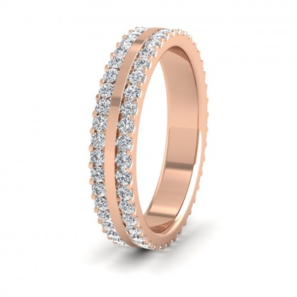 Double Edge Claw Fully Set Diamond Ring (1ct) In 18ct Rose Gold